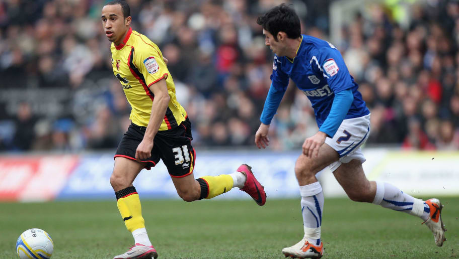 CARDIFF, WALES - JANUARY 22:  Andros Townsend (l) is shadowed by Peter Whittingham (r) during the npower Championship game between Cardiff City and Watford at Cardiff City stadium on January 22, 2011 in Cardiff, Wales.  (Photo by Michael Steele/Getty Images)