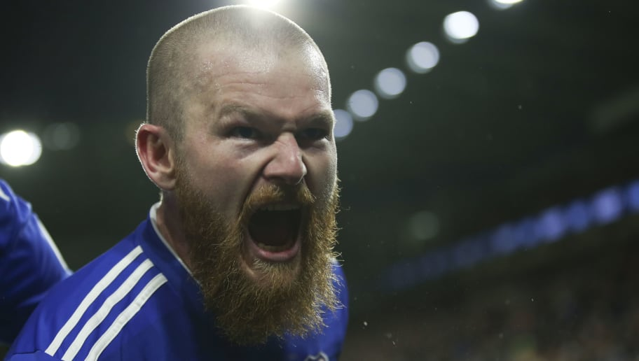 CARDIFF, WALES - NOVEMBER 30: Aron Gunnarsson celebrates scoring the first goal for Cardiff City during the Premier League match between Cardiff City and Wolverhampton Wanderers at Cardiff City Stadium on November 30, 2018 in Cardiff, United Kingdom. (Photo by Cardiff City FC/Getty Images)
