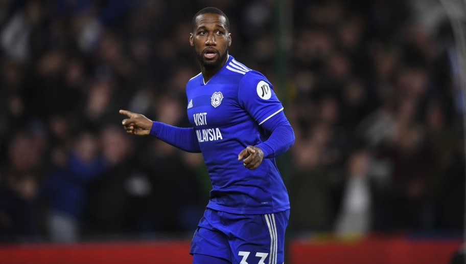 CARDIFF, WALES - NOVEMBER 30: Junior Hoilett celebrates the second goal for Cardiff City during the Premier League match between Cardiff City and Wolverhampton Wanderers at Cardiff City Stadium on November 30, 2018 in Cardiff, United Kingdom. (Photo by Cardiff City FC/Getty Images)