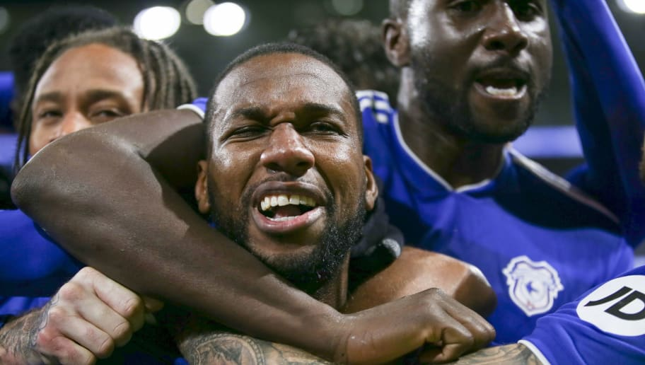 CARDIFF, WALES - NOVEMBER 30: Junior Hoilett celebrates scoring the second goal for Cardiff City FC during the Premier League match between Cardiff City and Wolverhampton Wanderers at Cardiff City Stadium on November 30, 2018 in Cardiff, United Kingdom. (Photo by Cardiff City FC/Getty Images)