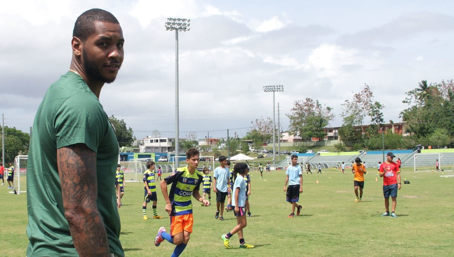 BAYAMON, PUERTO RICO - JUNE 12:  Carmelo Anthony attends a soccer clinic for children one day after he announced the purchase of Puerto Rico FC, who will join the North American Soccer League, on June 12, 2015 in Bayamon, Puerto Rico.  (Photo by GV Cruz/Getty Images)