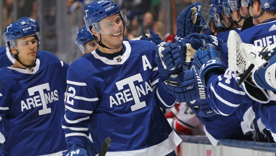 TORONTO,ON - DECEMBER 19:  Tyler Bozak #42 of the Toronto Maple Leafs celebrates a goal against the Carolina Hurricanes during an NHL game at the Air Canada Centre on December 19, 2017 in Toronto, Ontario, Canada. (Photo by Claus Andersen/Getty Images)