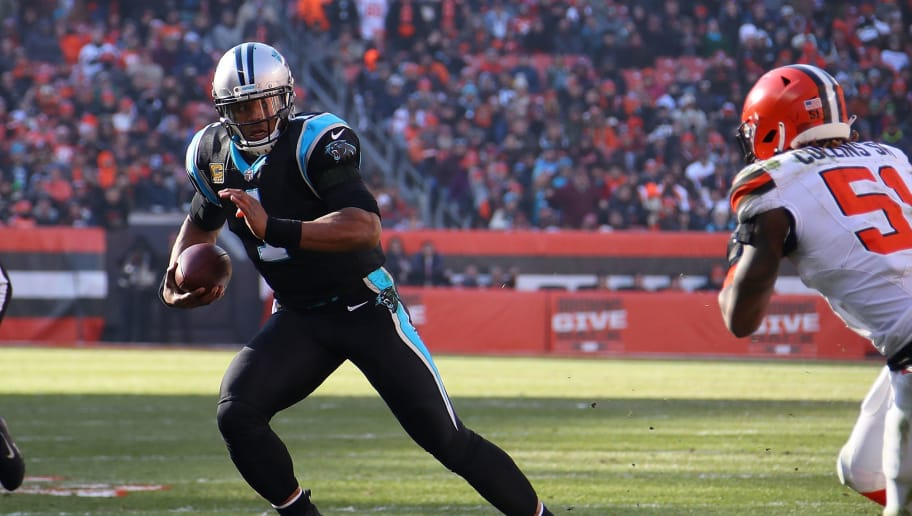 CLEVELAND, OH - DECEMBER 09:  Cam Newton #1 of the Carolina Panthers carries the ball in front of Jamie Collins #51 of the Cleveland Browns during the second quarter at FirstEnergy Stadium on December 9, 2018 in Cleveland, Ohio. (Photo by Gregory Shamus/Getty Images)