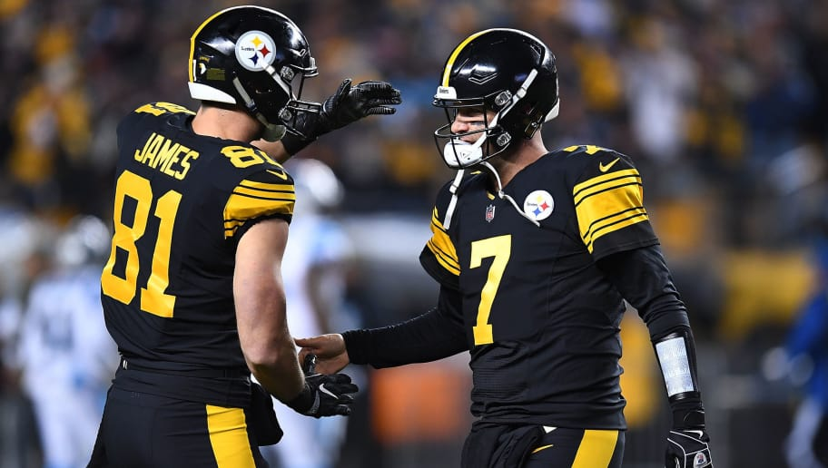 PITTSBURGH, PA - NOVEMBER 08: Ben Roethlisberger #7 of the Pittsburgh Steelers celebrates with Jesse James #81 after throwing a 75 yard touchdown to JuJu Smith-Schuster #19 during the first quarter in the game against the Carolina Panthers at Heinz Field on November 8, 2018 in Pittsburgh, Pennsylvania. (Photo by Joe Sargent/Getty Images)