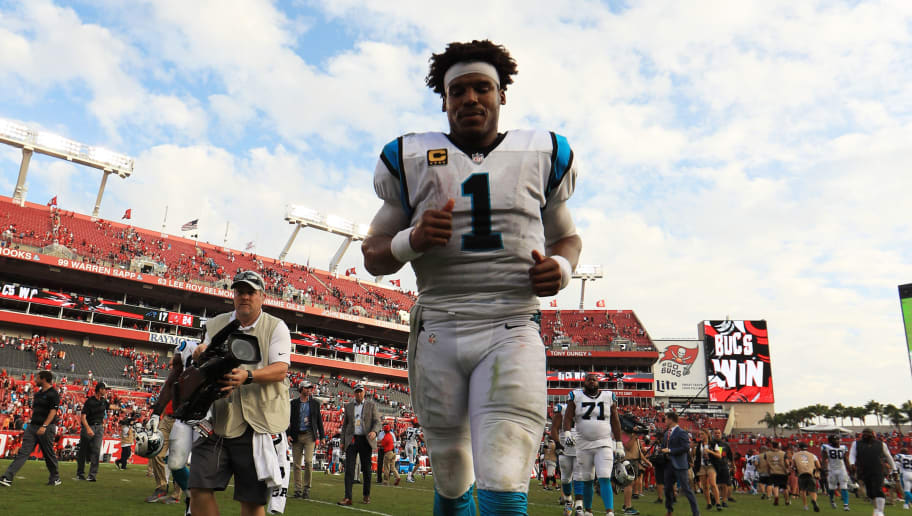 TAMPA, FLORIDA - DECEMBER 02: Cam Newton #1 of the Carolina Panthers runs off the field after a 24-17 loss to the Tampa Bay Buccaneers at Raymond James Stadium on December 02, 2018 in Tampa, Florida. (Photo by Mike Ehrmann/Getty Images)