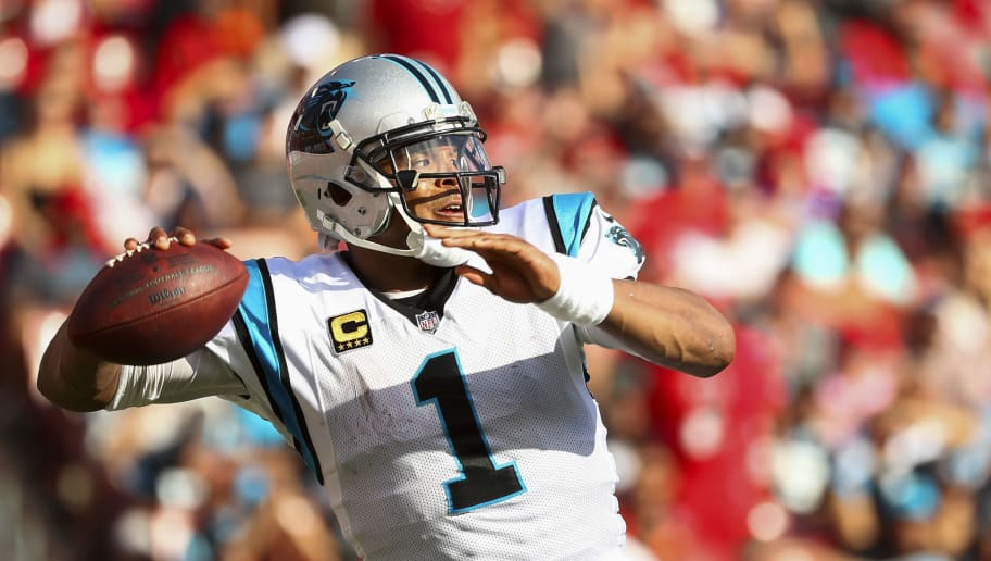 TAMPA, FL - DECEMBER 02: Quarterback Cam Newton #1 of the Carolina Panthers drops back to pass in the second half of the game against the Tampa Bay Buccaneers at Raymond James Stadium on December 2, 2018 in Tampa, Florida. (Photo by Will Vragovic/Getty Images)