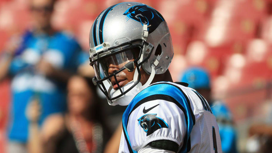 TAMPA, FLORIDA - DECEMBER 02: Cam Newton #1 of the Carolina Panthers looks to the sideline during warm-up before a game against the Tampa Bay Buccaneers at Raymond James Stadium on December 02, 2018 in Tampa, Florida. (Photo by Mike Ehrmann/Getty Images)