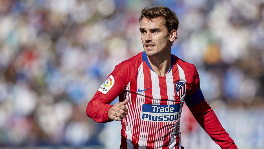 LEGANES, SPAIN - NOVEMBER 03:  Antoine Griezmann of Atletico de Madrid looks on during the La Liga match between CD Leganes and Club Atletico de Madrid at Estadio Municipal de Butarque on November 3, 2018 in Leganes, Spain.  (Photo by Quality Sport Images/Getty Images)