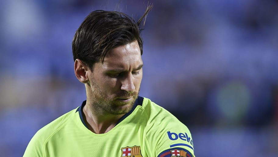 LEGANES, SPAIN - SEPTEMBER 26:  Leo Messi of FC Barcelona looks on prior to the La Liga match between CD Leganes and FC Barcelona at Estadio Municipal de Butarque on September 26, 2018 in Leganes, Spain. (Photo by Quality Sport Images/Getty Images)