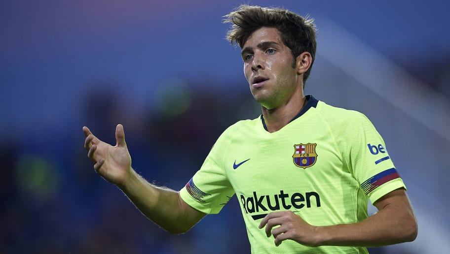 LEGANES, SPAIN - SEPTEMBER 26:  Sergi Roberto of FC Barcelona reacts during the La Liga match between CD Leganes and FC Barcelona at Estadio Municipal de Butarque on September 26, 2018 in Leganes, Spain.  (Photo by Quality Sport Images/Getty Images)