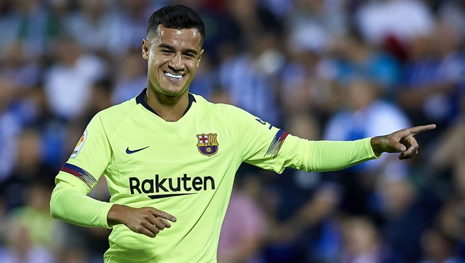 LEGANES, SPAIN - SEPTEMBER 26:  Coutinho of FC Barcelona celebrates after scoring his team's first goal during the La Liga match between CD Leganes and FC Barcelona at Estadio Municipal de Butarque on September 26, 2018 in Leganes, Spain.  (Photo by Quality Sport Images/Getty Images)