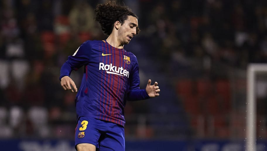 LUGO, SPAIN - FEBRUARY 18:  Marc Cucurella of FC Barcelona B in actionduring the La Liga 123 match between CD Lugo and FC Barcelona B at Angel Carro Stadium on February 18, 2018 in Lugo, Spain.  (Photo by Quality Sport Images/Getty Images)