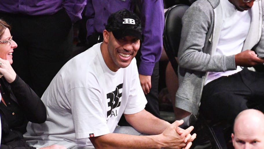 LOS ANGELES, CALIFORNIA - NOVEMBER 25: LaVar Ball attends a basketball game between the Los Angeles Lakers and the Orlando Magic at Staples Center on November 25, 2018 in Los Angeles, California. (Photo by Allen Berezovsky/Getty Images)