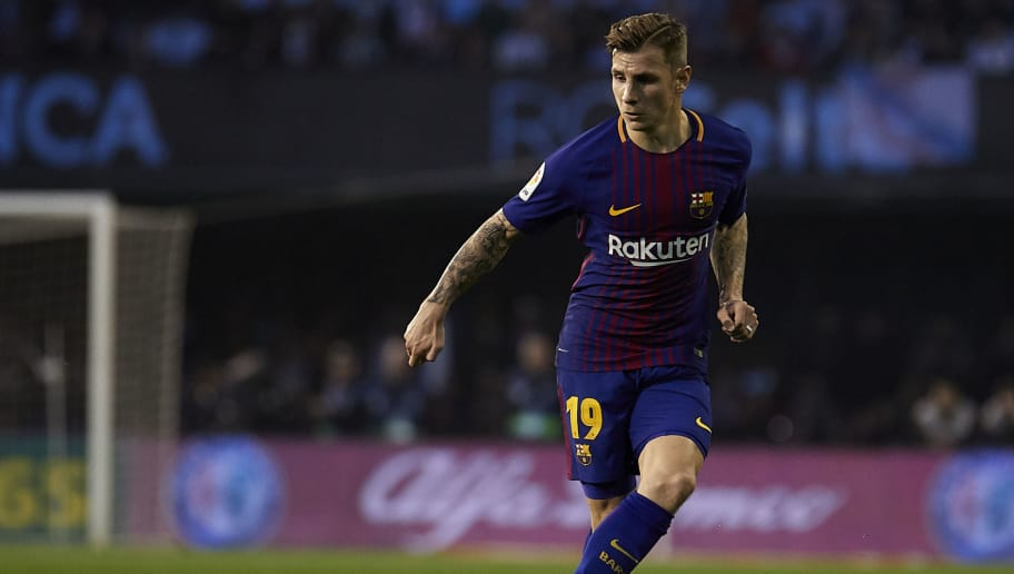 VIGO, SPAIN - APRIL 17:  Lucas Digne of FC Barcelona in action during the La Liga match between Celta de Vigo and Barcelona at Balaidos Stadium on April 17, 2018 in Vigo, Spain.  (Photo by Quality Sport Images/Getty Images)