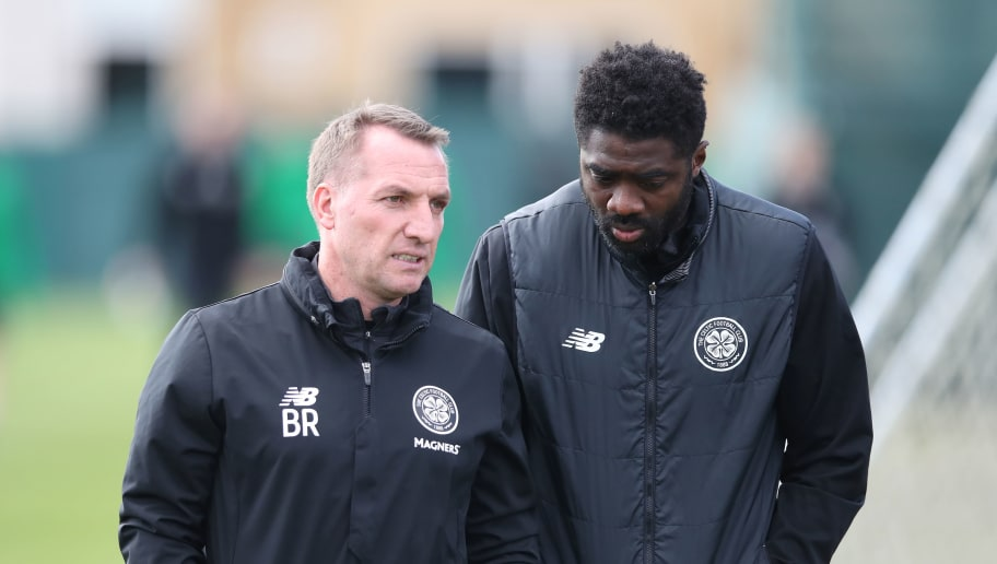 GLASGOW, SCOTLAND - APRIL 27:  Celtic manager Brendan Rodgers and Technical Assistant Kolo Toure during a training session at Lennoxtown Training Centre on April 27, 2018 in Glasgow, Scotland. (Photo by Ian MacNicol/Getty Images)