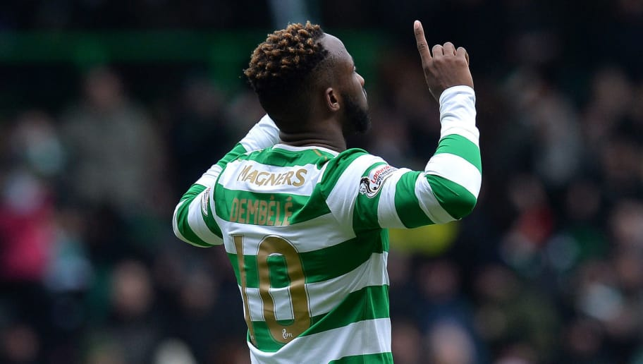 GLASGOW, SCOTLAND - MARCH 03: Moussa Dembele of Celtic celebrates scoring his first goal of the game during the Scottish Cup Quarter Final match between Celtic and Greenock Morton at Celtic Park on March 3, 2018 in Glasgow, Scotland. (Photo by Mark Runnacles/Getty Images)