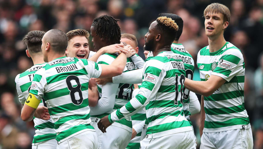 GLASGOW, SCOTLAND - AUGUST 26: James Forrest of Celtic is seen celebrating after Dedryck Boyata of Celtic scores during the Scottish Premier League match between Celtic and Hamilton Academical at Celtic Park Stadium on August 25, 2018 in Glasgow, Scotland. (Photo by Ian MacNicol/Getty Images)