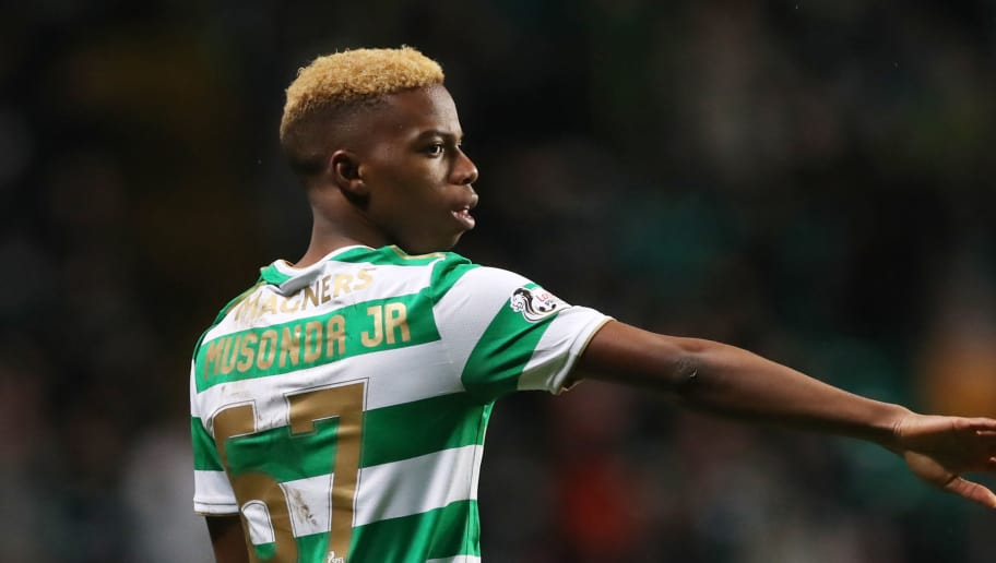 GLASGOW, SCOTLAND - JANUARY 30:  Charly Musonda of Celtic is seen during the Scottish Premier League match between Celtic and Heart of Midlothian at Celtic Park on January 30, 2018 in Glasgow, Scotland. (Photo by Ian MacNicol/Getty Images)