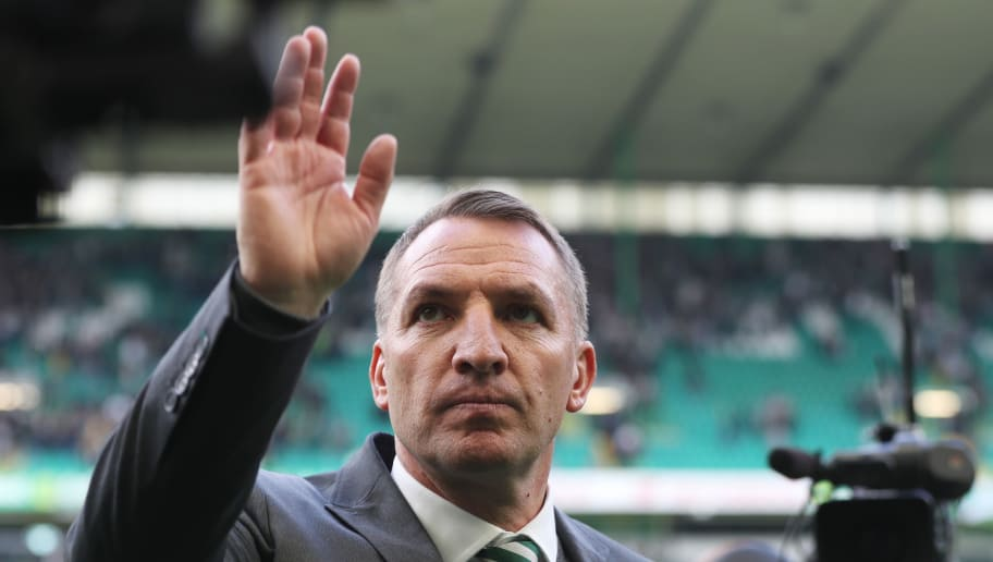 GLASGOW, SCOTLAND - APRIL 29:  Brendan Rodgers manager of Celtic celebrates winning the leauge after the Scottish Premier League match between Celtic and Rangers at Celtic Park on April 29, 2018 in Glasgow, Scotland.  (Photo by Ian MacNicol/Getty Images)