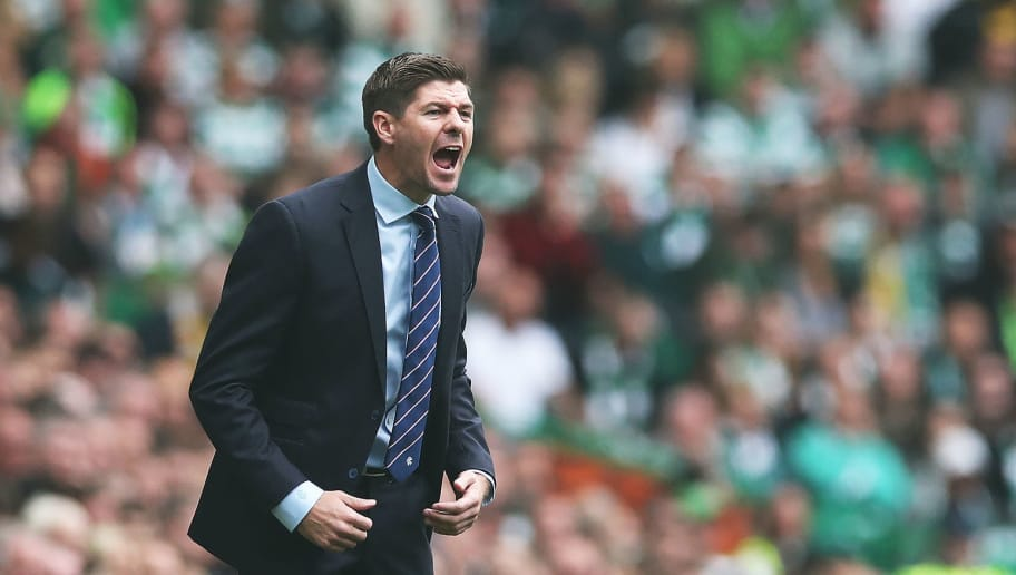 GLASGOW, SCOTLAND - SEPTEMBER 02: Rangers manager Steven Gerrard is seen during the Scottish Premier League between Celtic and Rangers at Celtic Park Stadium on September 2, 2018 in Glasgow, Scotland. (Photo by Ian MacNicol/Getty Images)