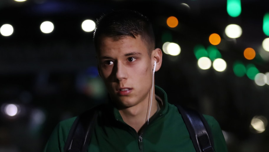 GLASGOW, SCOTLAND - NOVEMBER 08:  Filip Benkovic of Celtic arrives prior to the UEFA Europa League Group B match between Celtic and RB Leipzig at Celtic Park on November 8, 2018 in Glasgow, United Kingdom.  (Photo by Ian MacNicol/Getty Images)