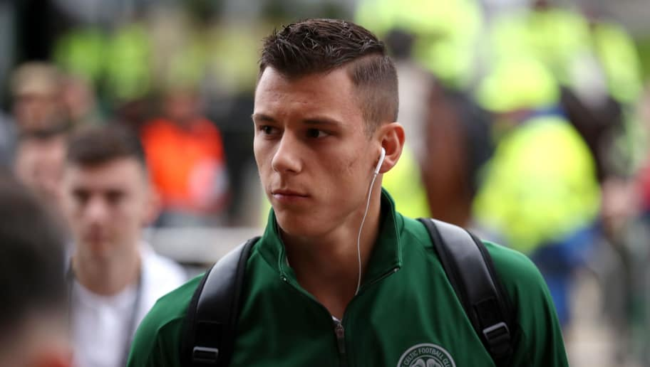 GLASGOW, SCOTLAND - SEPTEMBER 20: Filip Benkovic of Celtic arrives at the stadium prior to the UEFA Europa League Group B match between Celtic and Rosenborg at Celtic Park on September 20, 2018 in Glasgow, United Kingdom.  (Photo by Ian MacNicol/Getty Images)