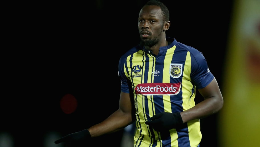 GOSFORD, AUSTRALIA - AUGUST 31:  Usain Bolt  during the pre-season match between the Central Coast Mariners and Central Coast Football at Central Coast Stadium on August 31, 2018 in Gosford, Australia.  (Photo by Ashley Feder/Getty Images)