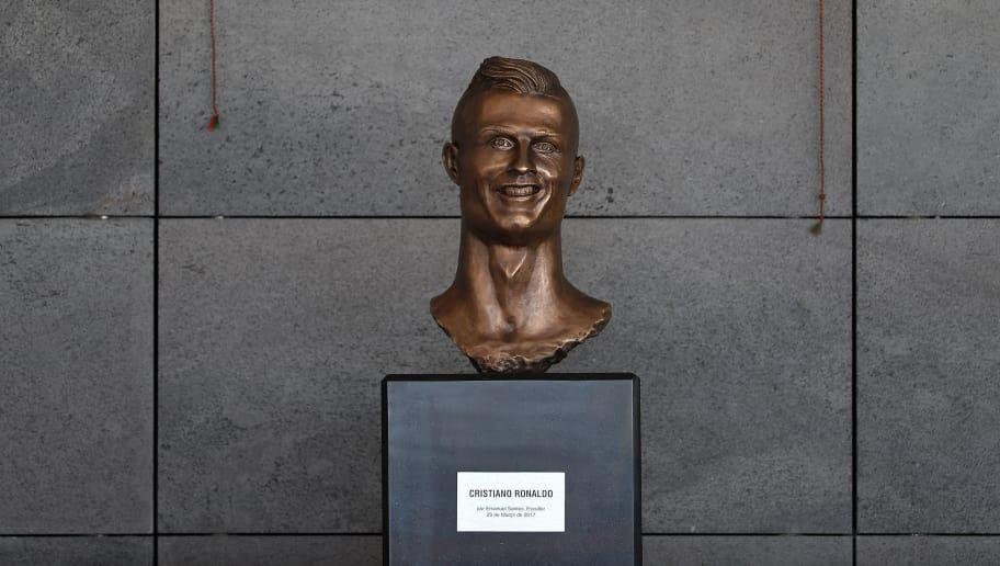 SANTA CRUZ, MADEIRA, PORTUGAL - MARCH 29: Statue of Cristiano Ronaldo at the ceremony at Madeira Airport to rename it Cristiano Ronaldo Airport on March 29, 2017 in Santa Cruz, Madeira, Portugal. (Photo by Octavio Passos/Getty Images)