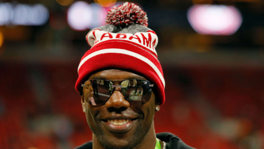 ATLANTA, GA - JANUARY 08:  Former NFL player Terrell Owens on field prior to the CFP National Championship presented by AT&T between the Georgia Bulldogs and the Alabama Crimson Tide at Mercedes-Benz Stadium on January 8, 2018 in Atlanta, Georgia.  (Photo by Kevin C. Cox/Getty Images)