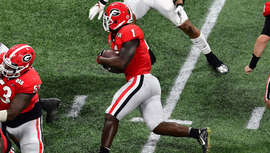 ATLANTA, GA - JANUARY 08: Sony Michel #1 of the Georgia Bulldogs carries the ball against the Alabama Crimson Tide in the CFP National Championship presented by AT&T at Mercedes-Benz Stadium on January 8, 2018 in Atlanta, Georgia. (Photo by Scott Cunningham/Getty Images)