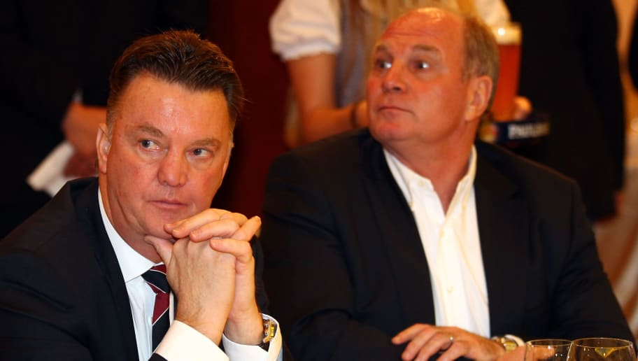 CLUJ-NAPOCA, ROMANIA - NOVEMBER 03:  03:  03:  03:  Louis van Gaal (L), head coach of Bayern Muenchen and Uli Hoeness (R), president of Bayern Munich attend the champions dinner at Opera Hotel on November 3, 2010 in Cluj-Napoca, Romania.  (Photo by Martin Rose/Bongarts/Getty Images)