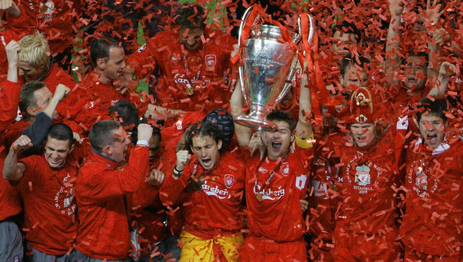 Liverpool's captain Steven Gerrard holds