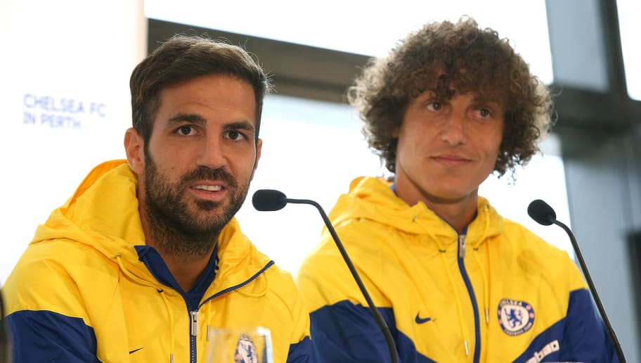 PERTH, AUSTRALIA - JULY 20: Cesc Fabregas and David Luiz of Chelsea address the media during a Chelsea FC press conference at Optus Stadium on July 20, 2018 in Perth, Australia.  (Photo by Paul Kane/Getty Images)
