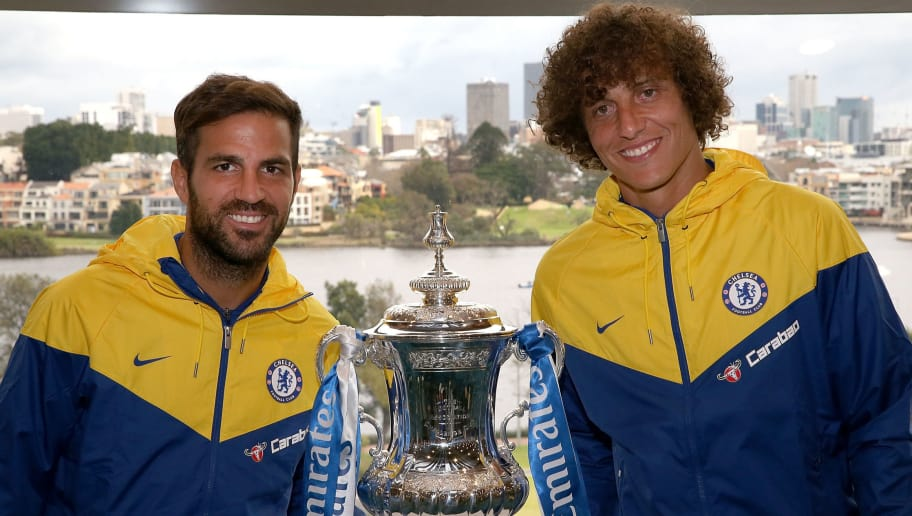 PERTH, AUSTRALIA - JULY 20:  Cesc Fabregas and David Luiz of Chelsea pose with the FA Cup following a Chelsea FC press conference at Optus Stadium on July 20, 2018 in Perth, Australia.  (Photo by Paul Kane/Getty Images)