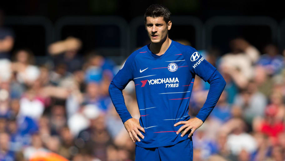 LONDON, ENGLAND - SEPTEMBER 01: Alvaro Morata of Chelsea during the Premier League match between Chelsea FC and AFC Bournemouth at Stamford Bridge on September 1, 2018 in London, United Kingdom. (Photo by MB Media/Getty Images)