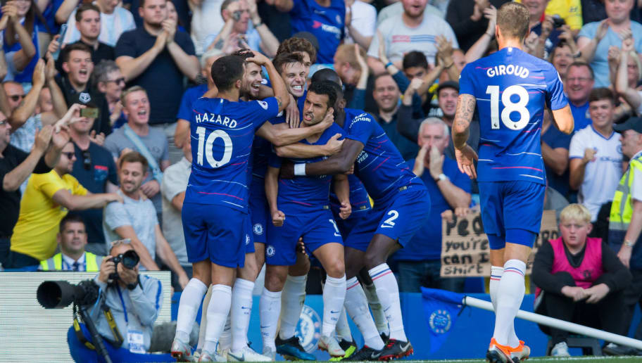London England September  Pedro Of Chelsea Celebrates Scoring The Opening Goal With