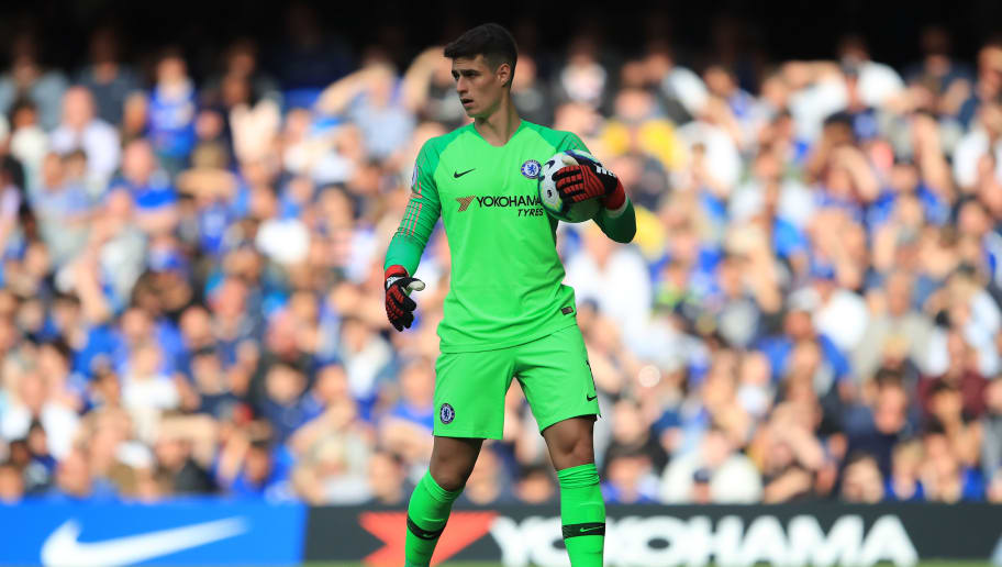 LONDON, ENGLAND - SEPTEMBER 15: Kepa Arrizabalaga of Chelsea during the Premier League match between Chelsea FC and Cardiff City at Stamford Bridge on September 15, 2018 in London, United Kingdom. (Photo by Marc Atkins/Getty Images)