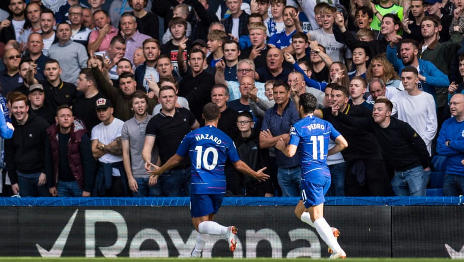 LONDON, ENGLAND - SEPTEMBER 15: Eden Hazard of chelsea FC celebrate 2nd goal on front of away fans during the Premier League match between Chelsea FC and Cardiff City at Stamford Bridge on September 15, 2018 in London, United Kingdom. (Photo by Sebastian Frej/MB Media/Getty Images)