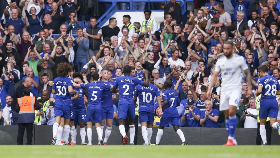 LONDON, ENGLAND - SEPTEMBER 15: Eden Hazard of Chelsea FC celebrates his third goal during the Premier League match between Chelsea FC and Cardiff City at Stamford Bridge on September 15, 2018 in London, United Kingdom. (Photo by Cardiff City FC/Getty Images)