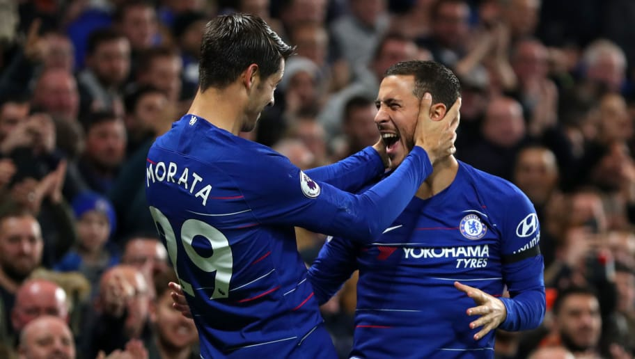 LONDON, ENGLAND - NOVEMBER 04:  Alvaro Morata of Chelsea celebrates with teammate Eden Hazard after scoring his team's second goal during the Premier League match between Chelsea FC and Crystal Palace at Stamford Bridge on November 4, 2018 in London, United Kingdom.  (Photo by Catherine Ivill/Getty Images)