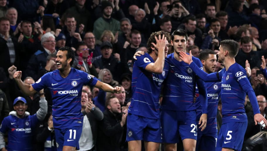 LONDON, ENGLAND - NOVEMBER 04:Pedro of Chelsea FC celebrates scoring his teams third goal  during the Premier League match between Chelsea FC and Crystal Palace at Stamford Bridge on November 04, 2018 in London, United Kingdom. (Photo by Chloe Knott - Danehouse/Getty Images)