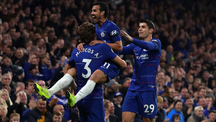 LONDON, ENGLAND - NOVEMBER 04: Pedro of Chelsea celebrates with teammates Marcos Alonso and Alvaro Morata after scoring his team's third goal during the Premier League match between Chelsea FC and Crystal Palace at Stamford Bridge on November 4, 2018 in London, United Kingdom. (Photo by Catherine Ivill/Getty Images)