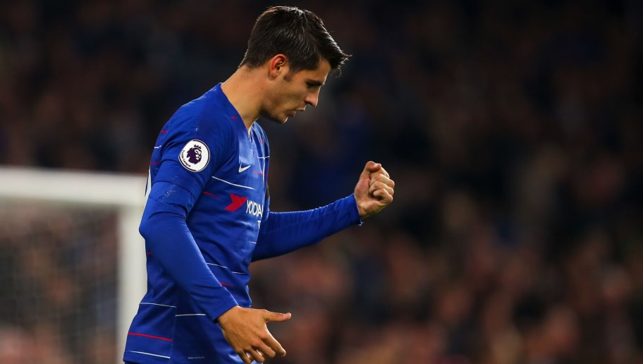 LONDON, ENGLAND - NOVEMBER 04: Alvaro Morata of Chelsea celebrates after scoring a goal to make it 2-1 during the Premier League match between Chelsea FC and Crystal Palace at Stamford Bridge on November 4, 2018 in London, United Kingdom. (Photo by Robbie Jay Barratt - AMA/Getty Images)