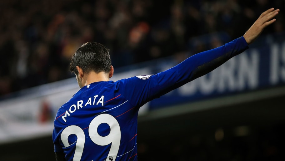 LONDON, ENGLAND - NOVEMBER 04: Alvaro Morata of Chelsea during the Premier League match between Chelsea FC and Crystal Palace at Stamford Bridge on November 4, 2018 in London, United Kingdom. (Photo by Marc Atkins/Getty Images)