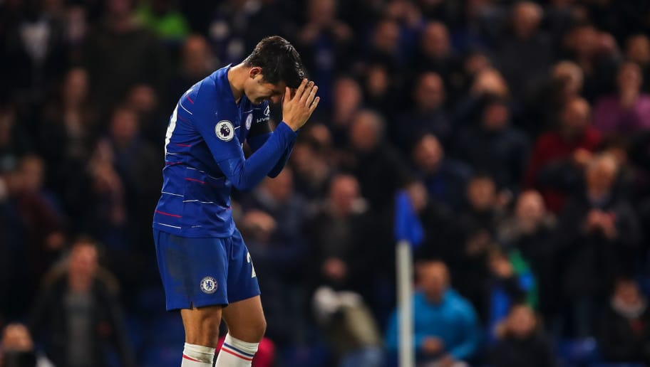 LONDON, ENGLAND - NOVEMBER 04: Alvaro Morata of Chelsea reacts after missing a chance on goal for his hat trick during the Premier League match between Chelsea FC and Crystal Palace at Stamford Bridge on November 4, 2018 in London, United Kingdom. (Photo by Robbie Jay Barratt - AMA/Getty Images)