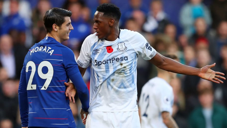 LONDON, ENGLAND - NOVEMBER 11:  Yerry Mina of Everton and Alvaro Morata of Chelsea react during the Premier League match between Chelsea FC and Everton FC at Stamford Bridge on November 11, 2018 in London, United Kingdom.  (Photo by Catherine Ivill/Getty Images)