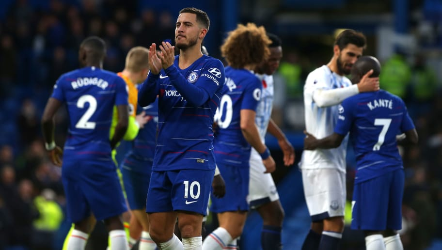 LONDON, ENGLAND - NOVEMBER 11: Eden Hazard of Chelsea FC applauds the crowd at the end of the Premier League match between Chelsea FC and Everton FC at Stamford Bridge on November 11, 2018 in London, United Kingdom. (Photo by Chloe Knott - Danehouse/Getty Images)