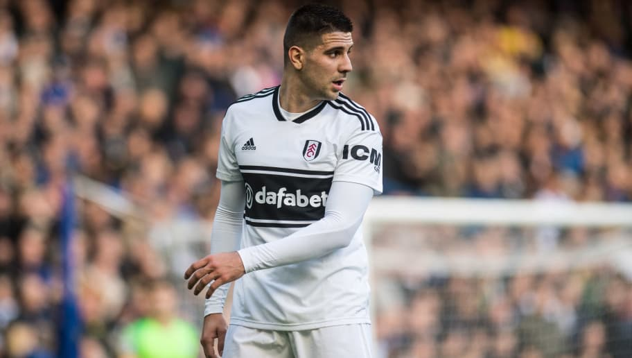 LONDON, ENGLAND - DECEMBER 02: Aleksandar Mitrovic of Fulham FC looks on during the Premier League match between Chelsea FC and Fulham FC at Stamford Bridge on December 2, 2018 in London, United Kingdom. (Photo by Sebastian Frej/MB Media/Getty Images)