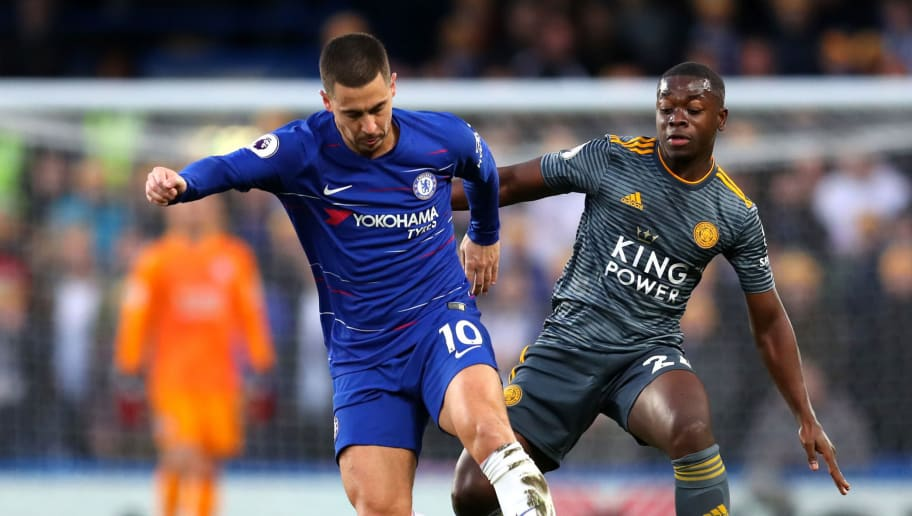 LONDON, ENGLAND - DECEMBER 22:  Eden Hazard of Chelsea battles for possession with Nampalys Mendy of Leicester City during the Premier League match between Chelsea FC and Leicester City at Stamford Bridge on December 22, 2018 in London, United Kingdom.  (Photo by Catherine Ivill/Getty Images)