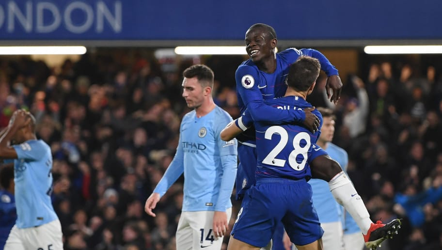 LONDON, ENGLAND - DECEMBER 08:  N'golo Kante of Chelsea celebrates after scoring his team's first goal with Cesar Azpilicueta of Chelsea during the Premier League match between Chelsea FC and Manchester City at Stamford Bridge on December 8, 2018 in London, United Kingdom.  (Photo by Shaun Botterill/Getty Images)